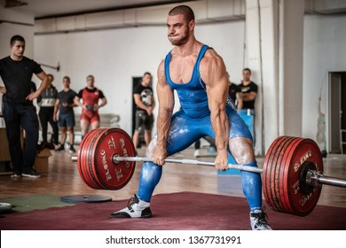 Sofia, Bulgaria - September 23, 2018: One of the best dead-lifters in Bulgarian powerlifting. He is making deadlift with 340 kg at Bulgarian National Powerlifting Championship Competition.