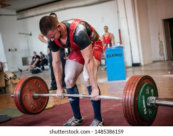 Sofia, Bulgaria - September 23, 2018: Ready for battle. Very strong Bulgarian power-lifter is going to make his successful deadlift attempt with 280 kg at Bulgarian National Powerlifting Championship