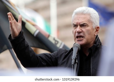 "SOFIA, BULGARIA - SEPTEMBER 24: Bulgarian nationalist party ""Ataka"" leader Volen Siderov speaks during rally in Sofia, Sept 24, 2014."