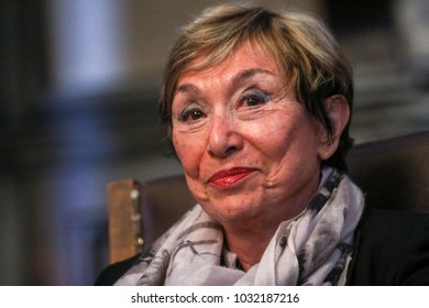 Sofia, Bulgaria - September 26, 2014: Bulgarian-French philosopher Julia Kristeva during her visit to Sofia University St. Kliment Ohridski.