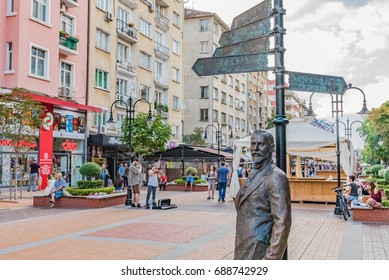 SOFIA, BULGARIA - SEPTEMBER 3, 2016: Street view of Vitosha Boulevard in Sofia, Bulgaria. Sofia is the capital and largest city of Bulgaria.