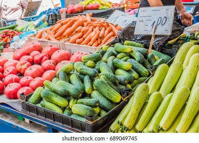 SOFIA, BULGARIA - SEPTEMBER 3, 2016: Various vegetables on sale at the local market in Sofia, Bulgaria. Sofia is the capital and largest city of Bulgaria.