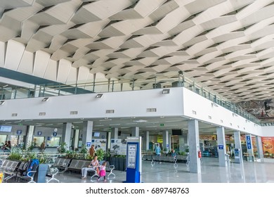 SOFIA, BULGARIA - SEPTEMBER 4, 2016: Interiors of Sofia Central Station in Sofia, Bulgaria. Sofia is the capital and largest city of Bulgaria.