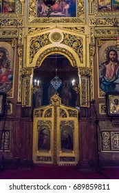 SOFIA, BULGARIA - SEPTEMBER 4, 2016: Interiors of the Saint Nedelya Church in the city center of Sofia, Bulgaria. Sofia is the capital and largest city of Bulgaria.