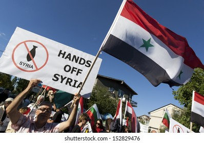 SOFIA, BULGARIA - SEPTEMBER 4: Syrians living in Sofia protest against the aggression and terror against Syria in front of the US Embassy, on September 4, 2013 in Sofia, Bulgaria.