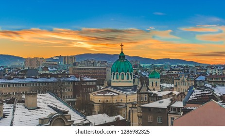 Sofia Bulgaria sunset over Temple St. St. Cyril and Methodius in winter against the backdrop of Vitosha Mountain