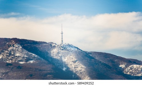 Sofia Bulgaria TV tower in Vitosha Mountain (hoof)