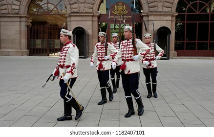 SOFIA, BULGARIA-JULY 28, 2018: changing of the guards in front of the Presidential palace, in Sophia.