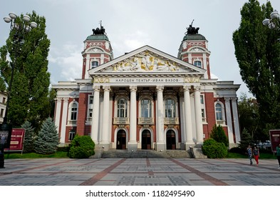 SOFIA, BULGARIA-JULY 28, 2018: historical Opera house building facade with cyrillic name on top, in Sophia.