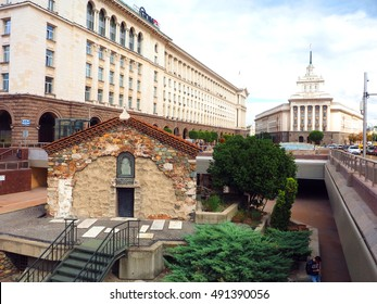 SOFIA, BULGARIA-SEPT. 19: Historic, Sveta Petka Samardjiyska  old church is seen in middle of downtown Sofia, Bulgaria surrounded by office and government buildings on September 19, 2016.