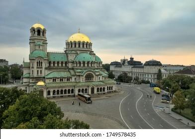 Sofia City / Bulgaria - October 10, 2010: Landmark Cathedral St. Alexander Nevski, National Gallery Kvadrat 500, Aerial Photo
