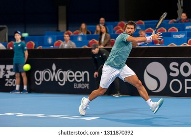 SOFIA - FEBRUARY 08.2019: Fernando Verdasco  (SPA) participate at the ATP Sofia Open tournament in Sofia, Bulgaria on February 03-10, 2019 - Image
