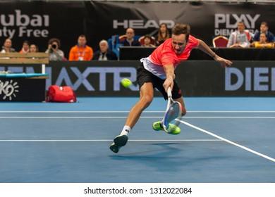 SOFIA - FEBRUARY 09.2019: Daniil Medvedev(RUS) participate at the ATP Sofia Open tournament in Sofia, Bulgaria on February 03-10, 2019