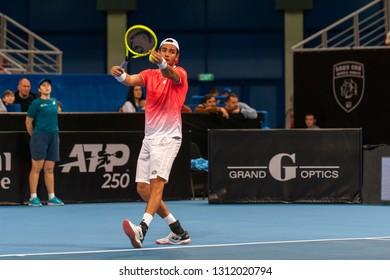 SOFIA - FEBRUARY 09.2019: Matteo Berrettini  (ITA) participate at the ATP Sofia Open tournament in Sofia, Bulgaria on February 03-10, 2019 - Image