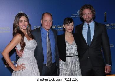 Sofia Vergara, Woody Harrelson, Rashida Jones, Gerard Butler at the 69th Annual Golden Globe Awards Nominations, Beverly Hilton Hotel, Beverly Hills, CA 12-15-11