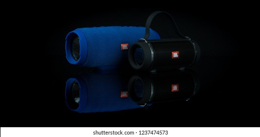 Sofia/Bulgaria 11 22 2018:Fake JBl portable speakers isolated on black background