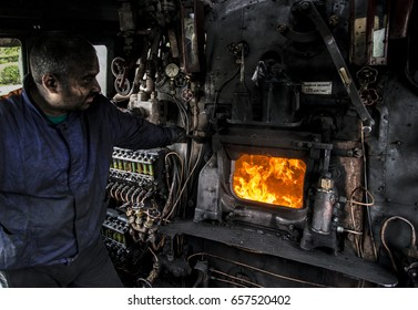 Sofia,Bulgaria - May 24, 2017 : A stoker prepares a steam locomotive for a tourist trip