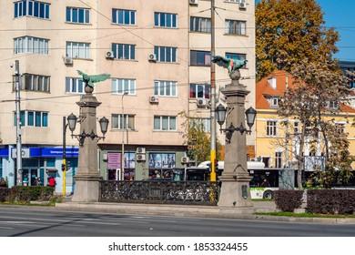 Sofia/Bulgaria- Nov 9, 2020 View of Eagles Bridge (Orlov Most) in sunny autumn day, Sofia, Bulgaria.
