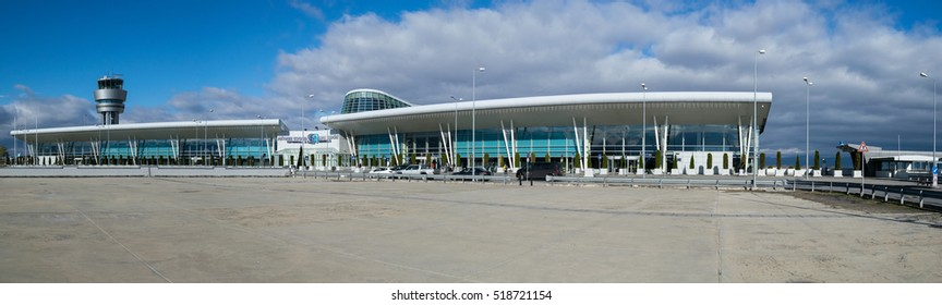 SOFIA,BULGARIA - NOVEMBER 13, 2016: Panorama of entrance to Sofia International Airport taken at Sofia International Airport on November 13, 2016