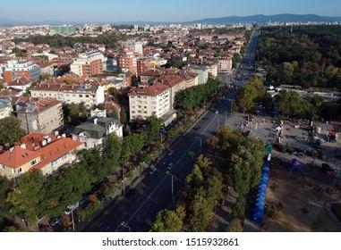 Sofia,Bulgaria september 2019. Buildings on Tsarigradsko Shose Boulevard near Orlov most Eagle Bridge. Aerial photo