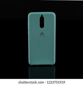 Sofia/Bulgaria-11 07 2018 :Huawei Mate 10 lite light blue phone cases