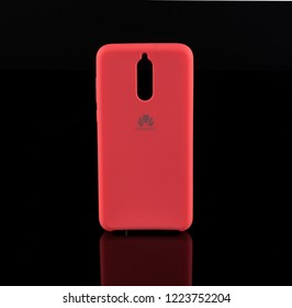Sofia/Bulgaria-11 07 2018 :Huawei Mate 10 lite pink phone cases