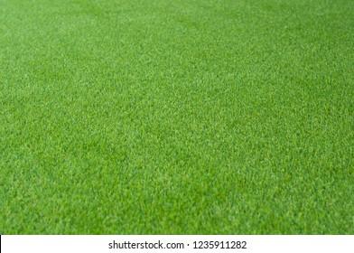 Soft artificial grass cover. Artificial turf on backyard. Green grass background