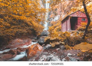 Soft autumn landscape view of Maral Waterfall. Borcka, Macahel,Artvin,Turkey