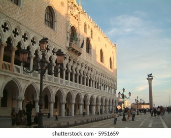 Soft autumnal evening illuminates the front of the Doge's Palace, Venice