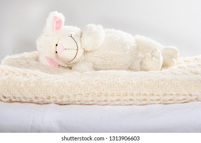 Soft baby toy laying in baby cot cradle bed a on hand knitted woolen rug