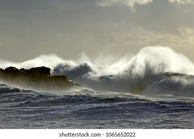 Soft backlit stormy sea wave splash and spray at sunset