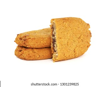 Soft baked cookies with chocolate filling isolated on white