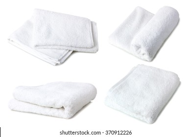 soft bath towel folded on white isolated background. Collage
