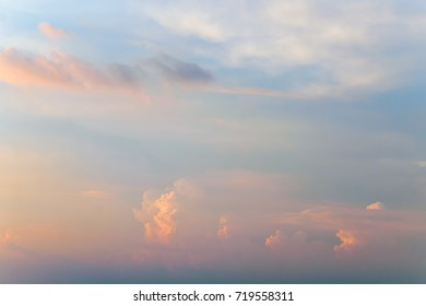 Soft beautiful clouds and sky at sunset.