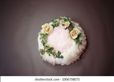 Soft Bird Nest Fantasy Background Photo Prop with vine and flowers Isolated on pink rose color.