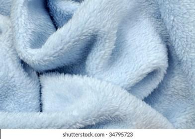 Soft blue baby blanket closeup