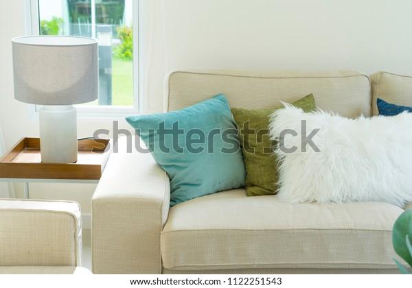 Soft Blue Cushion On Light Grey Stock Photo Edit Now 1122251543