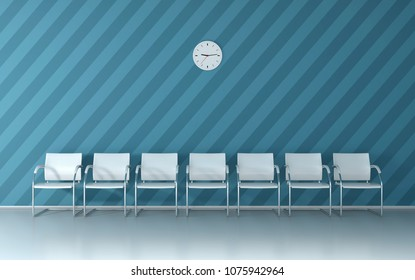 Soft blue waiting room with blue nice striped wall,  white chairs and wall clock