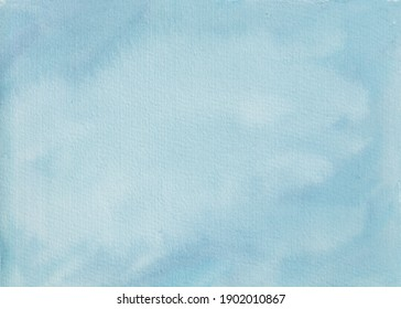 Soft blue watercolor abstract background. Hand painted watercolor background in blue color.