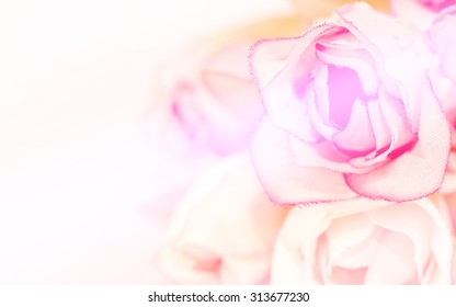 Soft blur of bouquet roses in vintage pastel soft color for background.