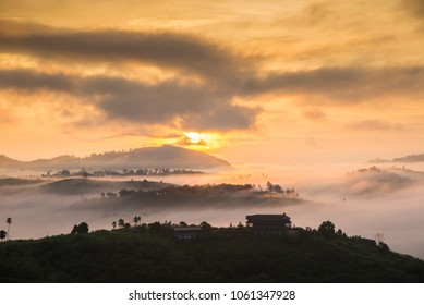Soft blurred photo in the morning view point with mountain mist at Khao Kho is  most famous travel place in Thailand