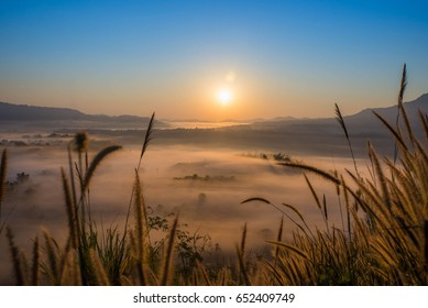 soft blurred photo in the morning view point with mountain mist in Khao Takhian Ngo at khao kho is  most famous travel place in thailand