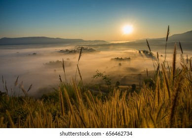 Soft blurred photo in the morning view point with mountain mist in Khao Takhian Ngo at Khao Kho is  most famous travel place in Thailand.