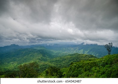 Soft blurred photo in point view with mountain mist and road in Phu tubberk most famous travel place in Thailand