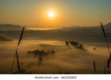Soft blurred photo and sun ligth in the morning view point with mountain mist in Khao Takhian Ngo at Khao Kho is  most famous travel place in Thailand