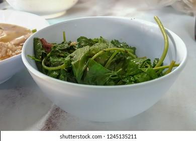 Soft boiled White Mugwort in little white bowl