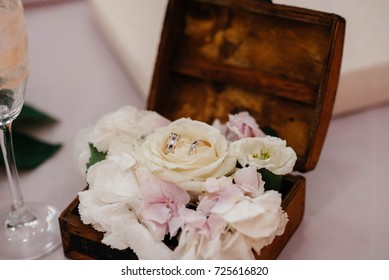 A soft box of white color for wedding rings for the wedding. Wedding.
