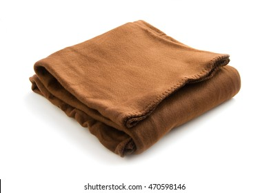 A soft brown fleece blanket, folded on a white background.