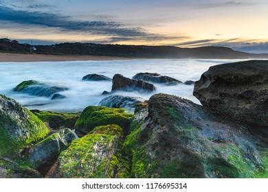 Soft Cascades and Green Moss Sunrise Seascape - Killcare Beach on the Central Coast, NSW, Australia.