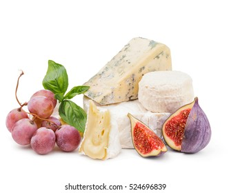 Soft cheese with grapes and figs isolated on white